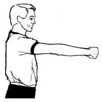 داور بسکتبال، نشان دادن جریان بازی بعد از خطا همراه پرتاب پنالتی به میز داوران بسکتبال